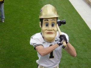 Purdue Pete on the sidelines of a home football game