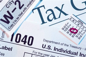 stack of various tax forms