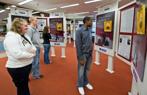 Students view presidential life portraits exhibit at Hicks