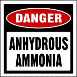 DANGER ANHYDROUS AMMONIA