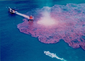 Aerial photo of oil spill in the Gulf of Mexico