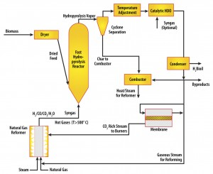 Diagram describing fast-hydropyrolysis-hydrodeoxygenation