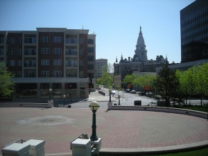 View of Courthouse from the steps of the Big Four Depot, Riehle Plaza