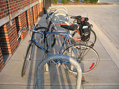 Bikes parked outside of a building at Purdue University in West Lafayette