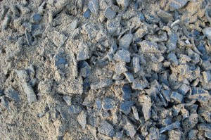 Photo of shredded tire and sand mixture
