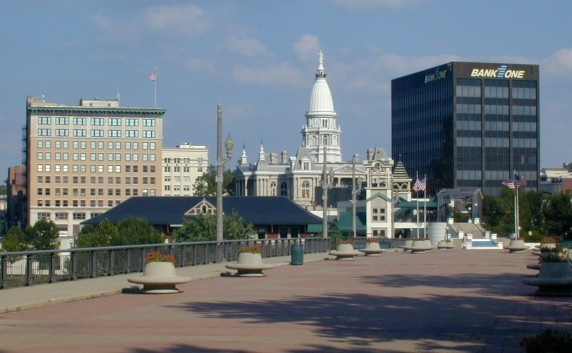View of Downtown Lafayette Indiana from the West Lafayette side of the bridge.
