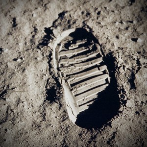 Footprint on the moon's surface