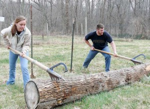 Purdue students demonstrate log rolling