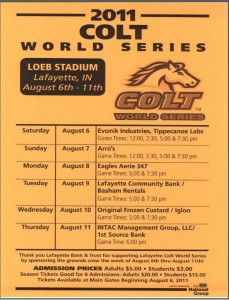 2011 Colt World Series Game Schedule