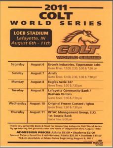 2011 Colt World Series Game Schedule