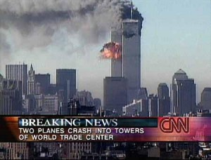 9/11 tv screen shot of World Trade Center after impact